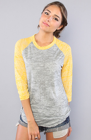4602bc30a09c Alternative Apparel The Big League Baseball Tee in Grey Heather and Yellow