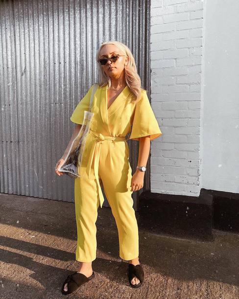 jumpsuit yellow jumpsuit sunglasses slide shoes black slides
