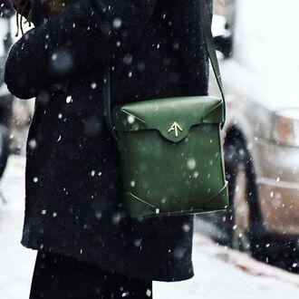 bag forest green bag box bag structured bag mini bag manu atelier crossbody bag