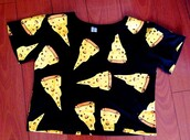 shirt,crop tops,cute,cheese,top,food,pizza,t-shirt