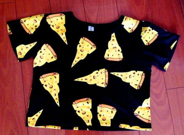 shirt crop tops cute cheese top food pizza crop tops t-shirt