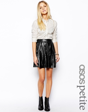 ASOS Petite | ASOS PETITE Exclusive Pleated Skater Skirt In Leather Look at ASOS