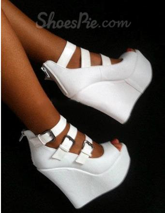 Elegant White Coppy Leather Wedge Heel Three  Ankle Strap Shoes