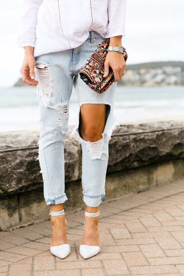 jeans boyfriend jeans ripped jeans bag jewels