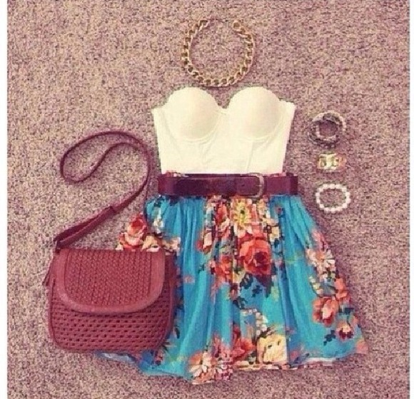 jewels gold shirt details white crop tops strapless top blue skirt flower print brown belt casual big necklace brown bag braided bag skirt