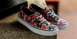 shoes flowers fleur fleurie imprimer fleurie rouge marron noir vans vans shoes chaussures basket basse toile