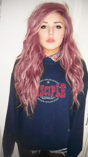 sweater,pink hair,pink,hair,girl,grunge,punk,rock,punk rock,grunge punk,hipster,hipster punk,tumblr,blue,blu,sweatshirt,blouse,sotto,under,beautiful,beautiful girl,tumblr girl,lips,perfect,sky ferreira,red lipstick,pastel hair,shirt,blue shirt
