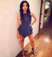 dress,clothes,shoes,envelope,envelope skirt,high neck,sexy,seth curry's wife,jewels,high heels,blue dress,navy dress,asymmetrical,grey,ayesha curry,blue,cute,halter top