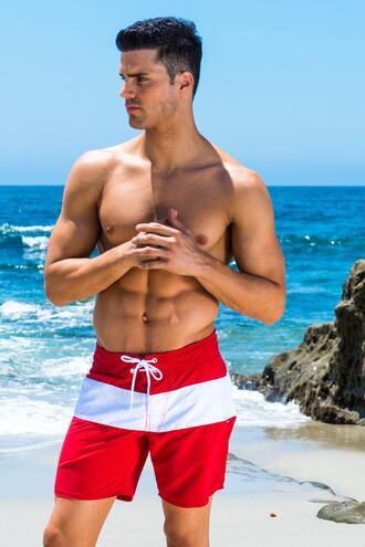 shorts white classic fit red sauvage mens swimwear drawstring waist bikiniluxe