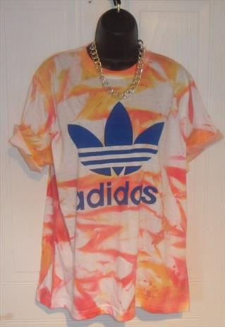 unisex customised adidas grunge acid wash tie dye t shirt M | mysticclothing | ASOS Marketplace
