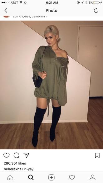 dress bebe rehxa green hoodie hooded dress long hooded dress boots casual streetstyle