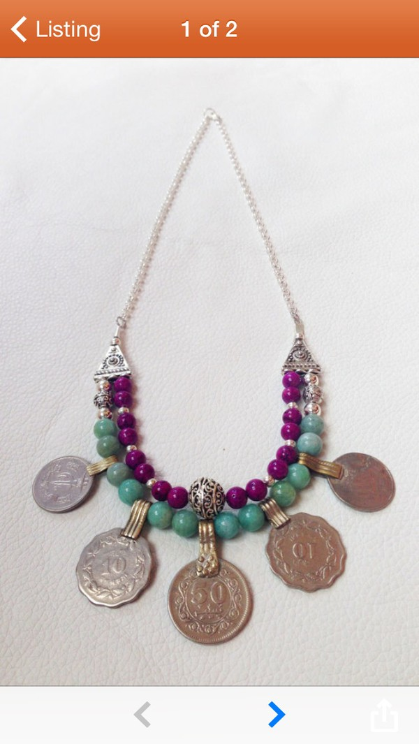 jewels turquoise coins necklace boho gypsy hippie