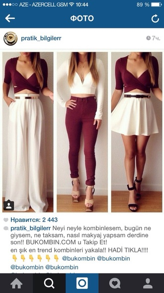 blouse bordo top bordo jeans white dress white top white trousers skirt