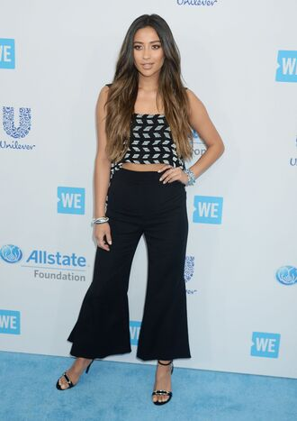 pants top crop tops shay mitchell shoes sandals