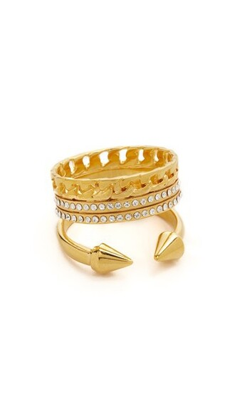 clear triple ring gold jewels