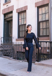 extra petite,blogger,pants,shoes,blouse,tank top,work outfits,wide-leg pants,black pants,black top,eyelet detail,eyelet top,bell sleeves,all black everything,office outfits