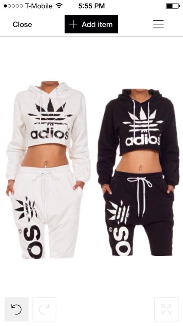jumpsuit adidas adiosset joggers pants hoodie white