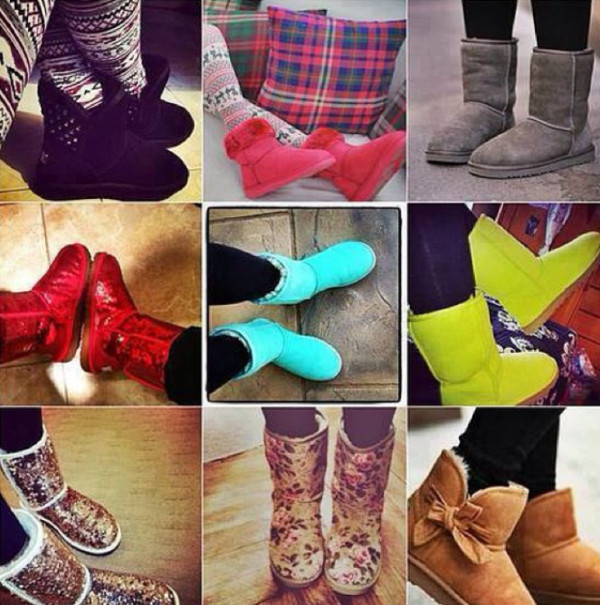 shoes, booties, boots, ugg boots, blue, yellow, red, pink, floral, grey, cute, cutie - Wheretoget