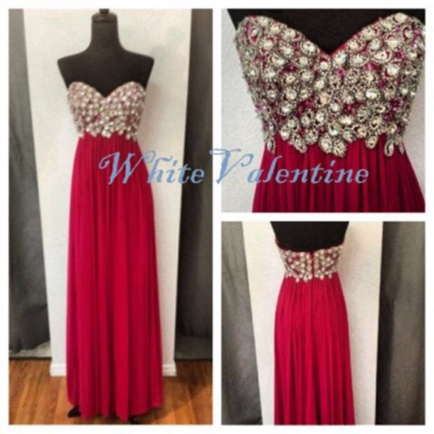 dress red burgundy prom prom dress evening dress red dress beaded gemstone silver sequins