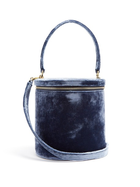 Staud bag bucket bag velvet light blue light blue