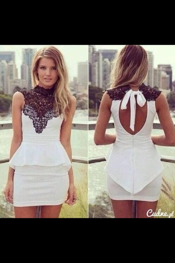 dress black lace white dress cute dress