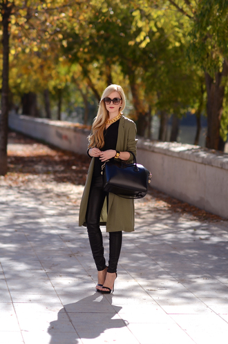 oh my vogue blogger jacket bag jewels khaki necklace pants blouse shoes black leather pants black pants leather pants black bag givenchy givenchy bag sunglasses classy black shirt