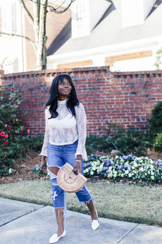 millennielle blogger top bag shoes lace top white lace top loafers cropped jeans
