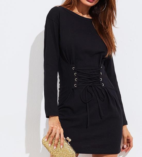 dress girly black dress black sweater sweatshirt sweater dress lace up corset top corset corset dress
