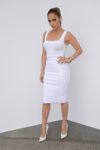 skirt jennifer lopez blackbarbie white skirt summer trends summer outfits trendy all white everything pencil skirt fashion style white dress spring outfits sexy high heels white white crop tops tube top tube t dress