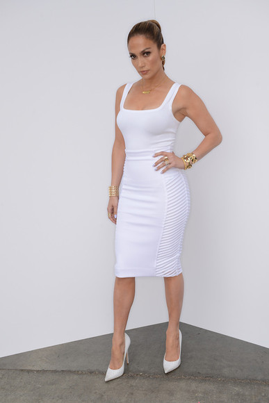 skirt high heels fashion summer outfits summer trends blackbarbie pencil skirt spring fashion jennifer lopez white skirt trending now all white everything jlo style white dress sexy white, crop top, crop tops, white crop top, tube top, tube t