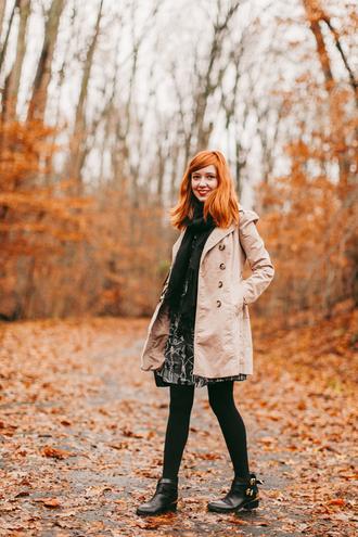 the clothes blogger coat dress bag beige ankle boots