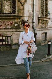 jeans,tumblr,eyelet detail,blue jeans,shirt,long shirt,asymmetrical,asymmetric shirt,white shirt,sunglasses,cat eye,red sunglasses,bag
