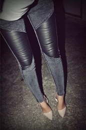 jeans,grey jeans,leather,pants,leather pants,black jeans,black pants,acid wash,heels,clothes,skinny jeans,elf,jacket,black,amazing,skinny,leggings,hipster,fashion,outfit,shoes,denim,skinny pants,grey,cool,style,darf,leather jeggings ; jeans,jeans leather,black leather pants,jeans with leather,black acid wash,skiny jeans,leather leggings,rock,hot,black denim leather jeans,indie,grunge,acid wash denim with leather knee inserts,leather and jean legging,dress,patchwork