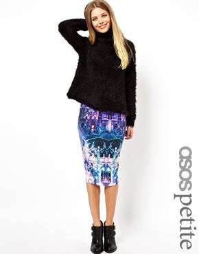 ASOS Petite   ASOS PETITE Exclusive Midi Tube Skirt In Graphic Print at ASOS