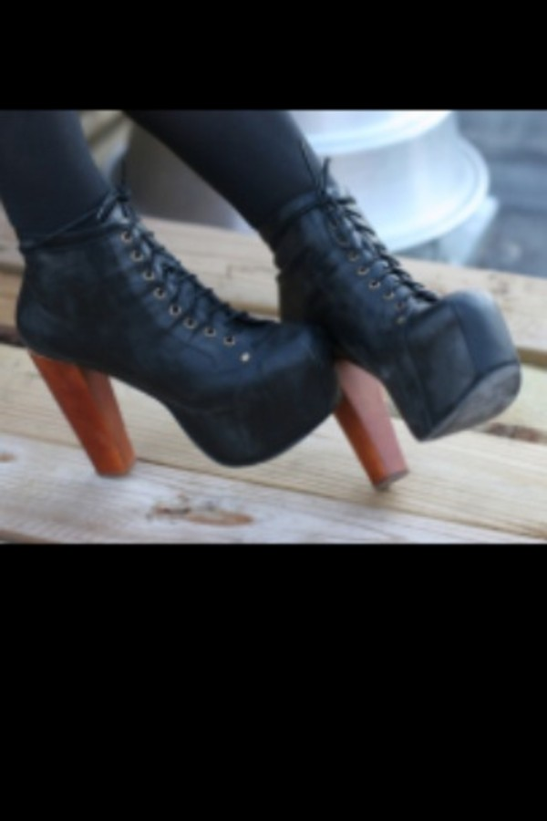 shoes high heels boots black brown lace up