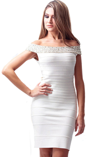 dress,dream it wear it,white,white dress,bardot,bardot dress,bardot dresses,off the shoulder,off the shoulder dress,crystal,embellished,rhinestones,cocktail,cocktail dress,banage,bandage,bandage dress,party,party dress,elegant,elegant dress,classy,classy dress,free shipping,bodycon,bodycon dress,summer outfits,girly,romantic summer dress,pool party
