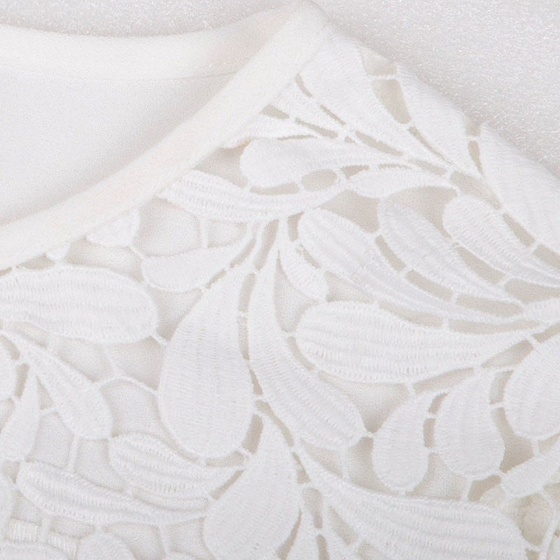 Specific Charming Sexy Hollow Embroidery Short Sleeve Lace T-shirt is Hot Selling at MsFairy.com