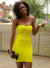 dress,bqueen,fashion,girl,lady,sexy,party,evening dress,yellow,chic,bodycon,strapless