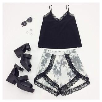 shorts summer outfits shoes sunglasses skirt tank top wrap black floral black lace lace