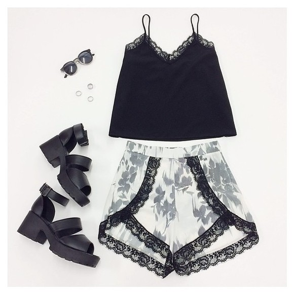 skirt wrap shorts summer outfits sunglasses tank top shoes black floral black lace lace