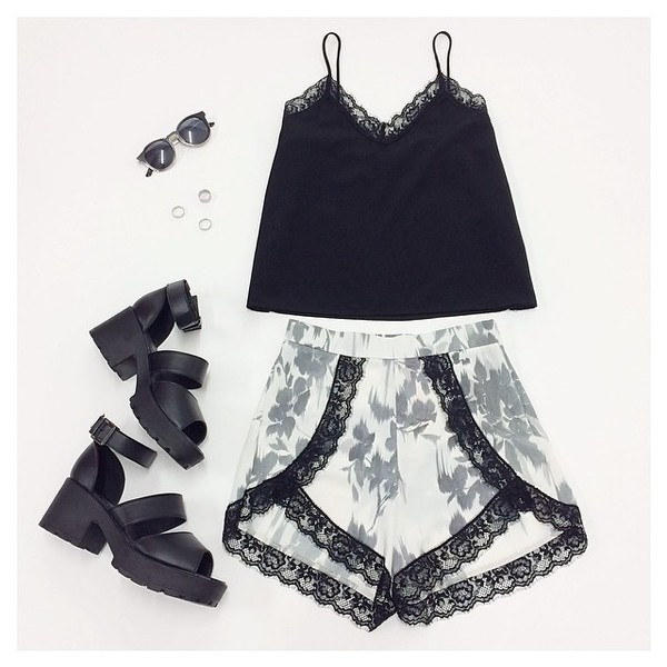 shorts wrap summer sunglasses tank top skirt shoes black black lace lace floral
