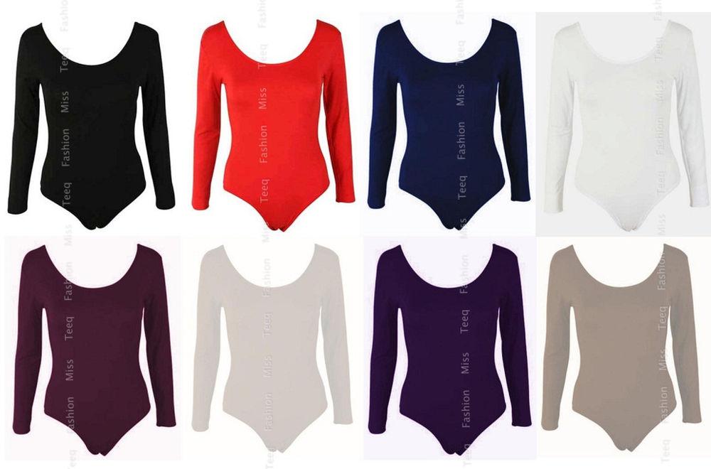 Womens long sleeve bodysuit stretch ladies leotard body top tshirt 8