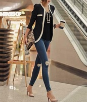 jacket,shoes,bag,leopard print,brown,blue,black,jeans,jewels,coffee,purse,black and white blazer,cardigan,blouse,blazer,white,fashion,fall jacket,style,spring outfits,kimono,pants,heels,top,coat,black blazer,necklace,fall outfits,beige,jewelry,korean fashion,ripped jeans