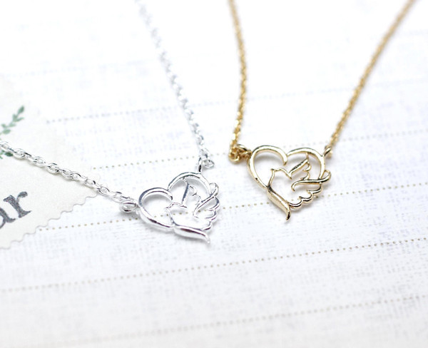 Sentimental Journey Heart and Bird Necklace in Gold/Silver - Silver Plate/Fill (w/o Stone)