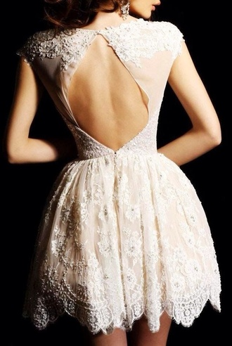 dress lace dress formal dress ivory ivory lace ivory dress open back dresses classy elegant open back short sleeve fit and flare white homecoming dress white dress
