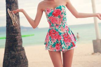 dress tropical girly romper pastel floral possibly a shirt red blue green sweetheart neckline pink