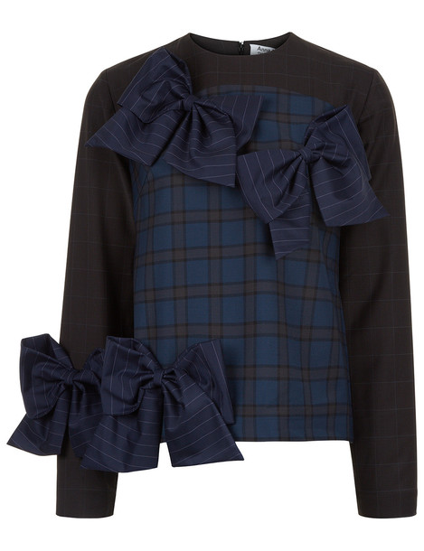 top bow long navy tartan