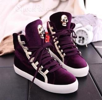 burgundy high top sneakers skull purple velvet sneakers plum shoes