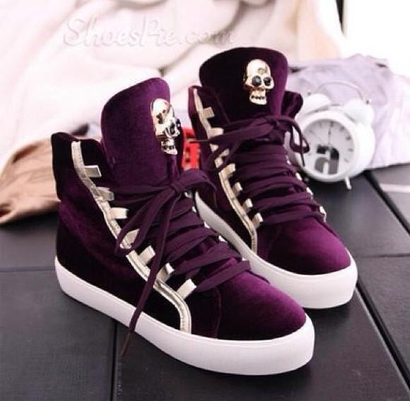 skull purple burgundy high top sneaker velvet sneakers