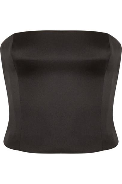 GIORGIO ARMANI top bustier bustier top black silk satin